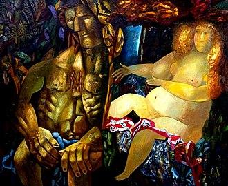 "Misha Brusilovsky - ""Samson and Delilah"". 150х120. Canvas, oil. 2008."