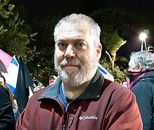 גונן בן יצחק בהפגנה בחיפה ברחבת האודיטוריום 26 בנובמבר 2020