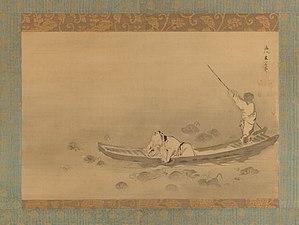 Zhou Dunyi - Zhou Dunyi admiring lotuses by Kaihō Yūsetsu, mid-17th century