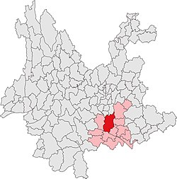 雲南省中の建水県の位置