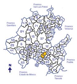 84 municipios, en amarillo Municipio de Pachuca capital del estado