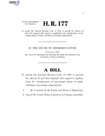116th United States Congress H. R. 0000177 (1st session) - To amend the Internal Revenue Code of 1986 to provide for waivers of user fees imposed with respect to applications for reinstatement of tax-exempt.pdf