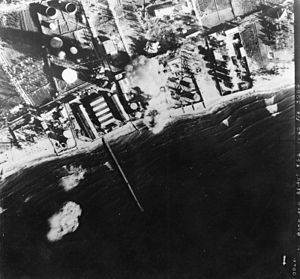 Syria–Lebanon Campaign - Image: 11 Squadron RAF Blenheims bombing Beirut 1941 IWM HU 93073