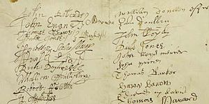 Protestation Returns of 1641–1642 - Page from the Protestation Returns