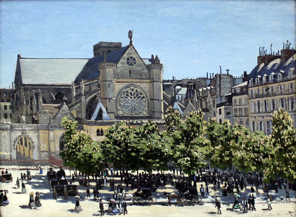 Claude Monet, Saint-Germain-l'Auxerrois à Paris, 1867, Alte Nationalgalerie (Berlin).  (définition réelle 4 752 × 3 485)