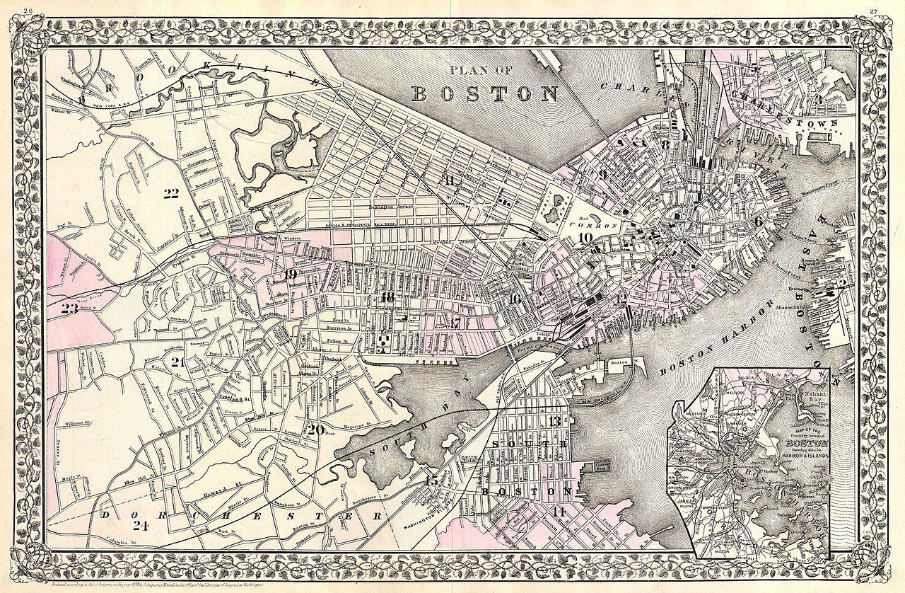 File1879 Mitchell Map Of Boston Massachusetts