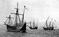 Replicas of the Niña, Pinta and Santa Maria sailed from Spain to the Chicago Columbian Exposition.