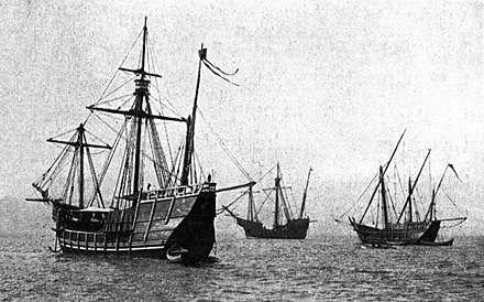 Replicas of Nina, Pinta and Santa Maria sailed from Spain to the Chicago Columbian Exposition 1893 Nina Pinta Santa Maria replicas.jpg