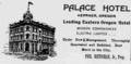 1904 Palace Hotel Advertisement in Heppner, Oregon.png