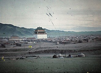 Gandantegchinlen Monastery - Colorized photo of Gandan Monastery in 1913