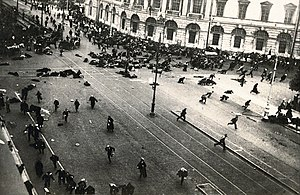 October Revolution - A scene from the July Days. The army has just opened fire on street protesters.