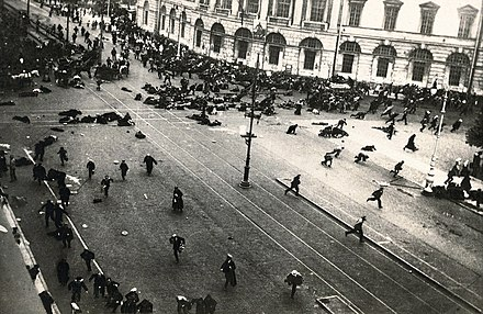 A scene from the July Days. The army has just opened fire on street protesters. 19170704 Riot on Nevsky prosp Petrograd.jpg