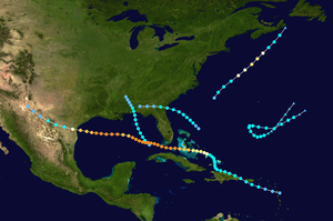 1919 Atlantic hurricane season - Image: 1919 Atlantic hurricane season summary map