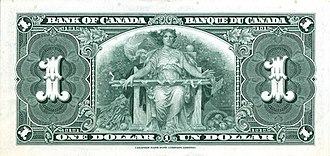 1937 Series (banknotes) - Image: 1937 1 bank of canadaback