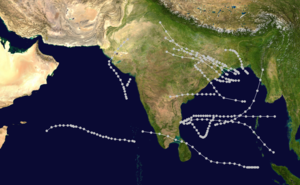 1964 North Indian Ocean cyclone season - Image: 1964 North Indian Ocean cyclone season summary map