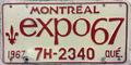 1967 Québec license plate 7H-2340 Montréal Expo 67 front.png