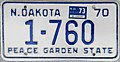 1970 North Dakota license plate with 1973 sticker - Number 1-760.jpg