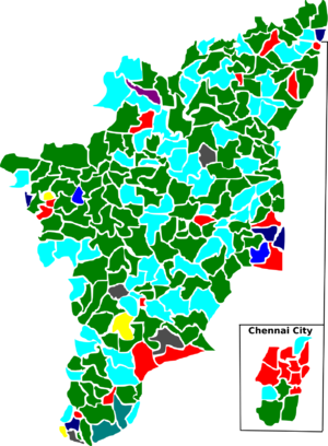 Tamil Nadu Legislative Assembly election, 1984 - Election map of results based on parties. Colours are based on the results table on the left