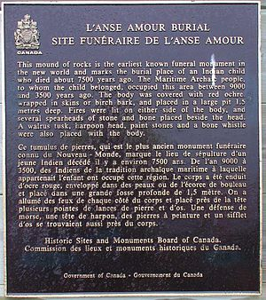 L'Anse Amour - Burial mound plaque