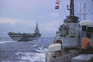 HMS Centaur (R06) - Centaur in 1961, en route from Aden to Celon. Photographed from HMS ''Solebay''