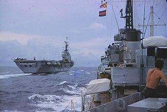 HMS Centaur (R06) - Centaur in 1961, en route from Aden to Celon. Photographed from HMS ''Solebay''