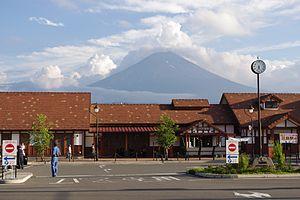 Kawaguchiko Station - Kawaguchiko Station with Mount Fuji behind, July 2010