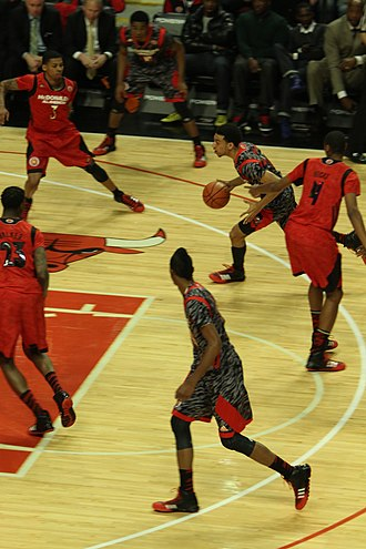 Screen (sports) - Image: 20130403 MCDAAG Jarell Martin sets pick on Anthony Barber, for Nigel Williams Goss (2)