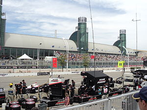 Honda Indy Toronto - Looking towards the Direct Energy Centre during the 2013 race. Team Penske pits are at the bottom of the image.