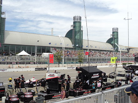 The 2013 Honda Indy Toronto race, with the Enercare Centre in the background. During the event, the centre typically hosts exhibits for the Indy.