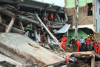 2013 Savar building collapse - Side view of the collapsed building