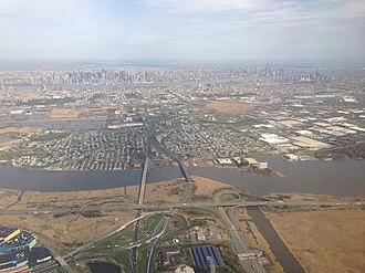New Jersey Route 3 - Aerial view of Route 3 as it travels across Secaucus.  The road traveling right-to-left in the foreground is the western spur of the New Jersey Turnpike