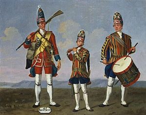49th (Princess Charlotte of Wales's) (Hertfordshire) Regiment of Foot - A grenadier of the 49th Regiment (left), 1751