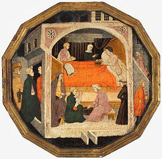 Desco da parto - Birthing scene, apparently not Biblical. As women tend to the child, expensively dressed female guests are already arriving.