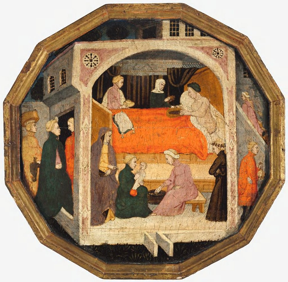 4 Master of Charles of Durazzo (Francesco di Michele) A Birth Scene (Desco da Parte), c. 1410 Harvard Art museum (2)