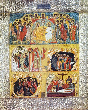 Russian icon with 5 themes: The Holy Trinity o...