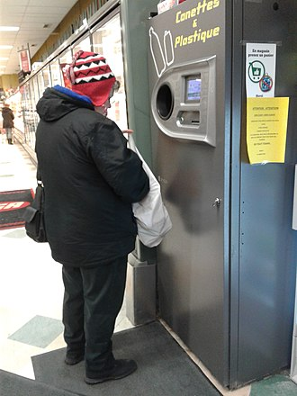 Container-deposit legislation - Recycling machine in a Montreal grocery store.