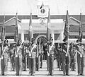 9th Madras lays its colours at Chetwode Hall at IMA, Dehra Dun in 1956.jpg