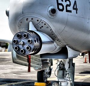 Strafing - A-10's 30 mm GAU-8 Avenger cannon is used for strafing tanks, armored vehicles and other ground targets.