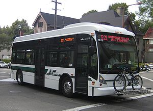 Destination sign - An example of LED-type destination signs on an AC Transit bus. On the front sign, the bottom line of text changes every few seconds to list multiple destinations along the route.