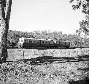 Eastern Railway (Western Australia) - An ADE/ADE class railcar/trailer combination operating a Katanning to Perth service near Clackline, 1944.