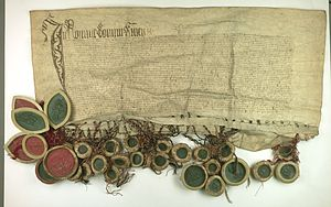 Thirteen Years' War (1454–66) - Prussian Confederation offered to incorporate Prussia into the Crown of the Kingdom of Poland, 1454, Central Archives of Historical Records, Warsaw