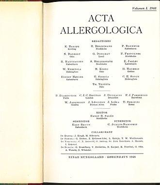 Allergy (journal) - Cover of the first volume of Acta Allergolica