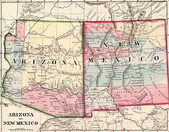 New Mexico-territoriet och Arizonaterritoriet år 1867