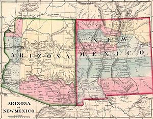 New Mexico Territory - A map of the later Federal Arizona and New Mexico Territories, split from the original New Mexico Territory of 1851, showing existing counties.