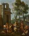 A LANDSCAPE WITH PEASANTS SITTING AND DRINKING BY A RUINED HOUSE.PNG