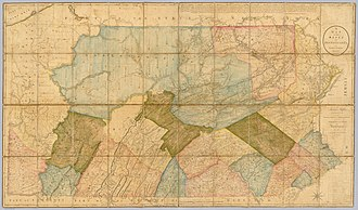 A map of Pennsylvania in 1792. Wilkes-Barre is visible in the northeast. At the time, Luzerne County occupied a vast portion of Northeastern Pennsylvania. A Map Of The State Of Pennsylvania by Reading Howell, 1792.jpg
