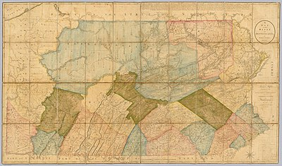 A map of Pennsylvania in 1792. At the time, Bradford, Lackawanna, Susquehanna, and Wyoming were still part of Luzerne County. A Map Of The State Of Pennsylvania by Reading Howell, 1792.jpg