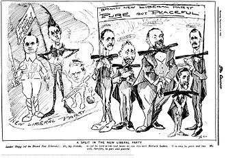 "New Zealand general election, 1905 - A cartoon depicting the infamous ""Voucher incident"" showing New Liberals distancing themselves from Fisher."