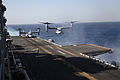 A U.S. Marine Corps MV-22B Osprey tiltrotor aircraft assigned to Marine Medium Tiltrotor Squadron (VMM) 266 prepares to land aboard the amphibious assault ship USS Kearsarge (LHD 3) in the Red Sea April 7, 2013 130407-N-GF386-277.jpg