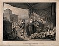 A monk visiting the victims of the great plague of Milan in Wellcome V0010582.jpg